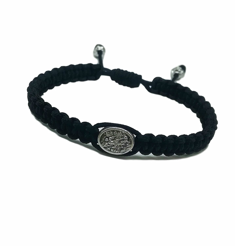 MedjugorjeStoneGifts St Michael Archangel Bracelet for Men Women or Kids Catholic Saint Adjustable Woven Black Bracelet