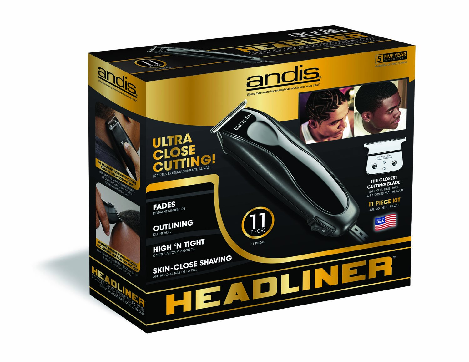 Andis Skin-Close Headliner 11-Piece Hair Clipper/Beard Trimmer Kit, Black, Model LS-2 (29775) by Andis (Image #4)