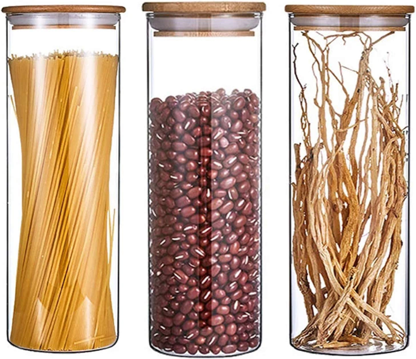 Glass Food Storage Jars Containers with Airtight Bamboo Lids,32.5 OZ (950 ML) Kitchen Glass Canisters Set of 3