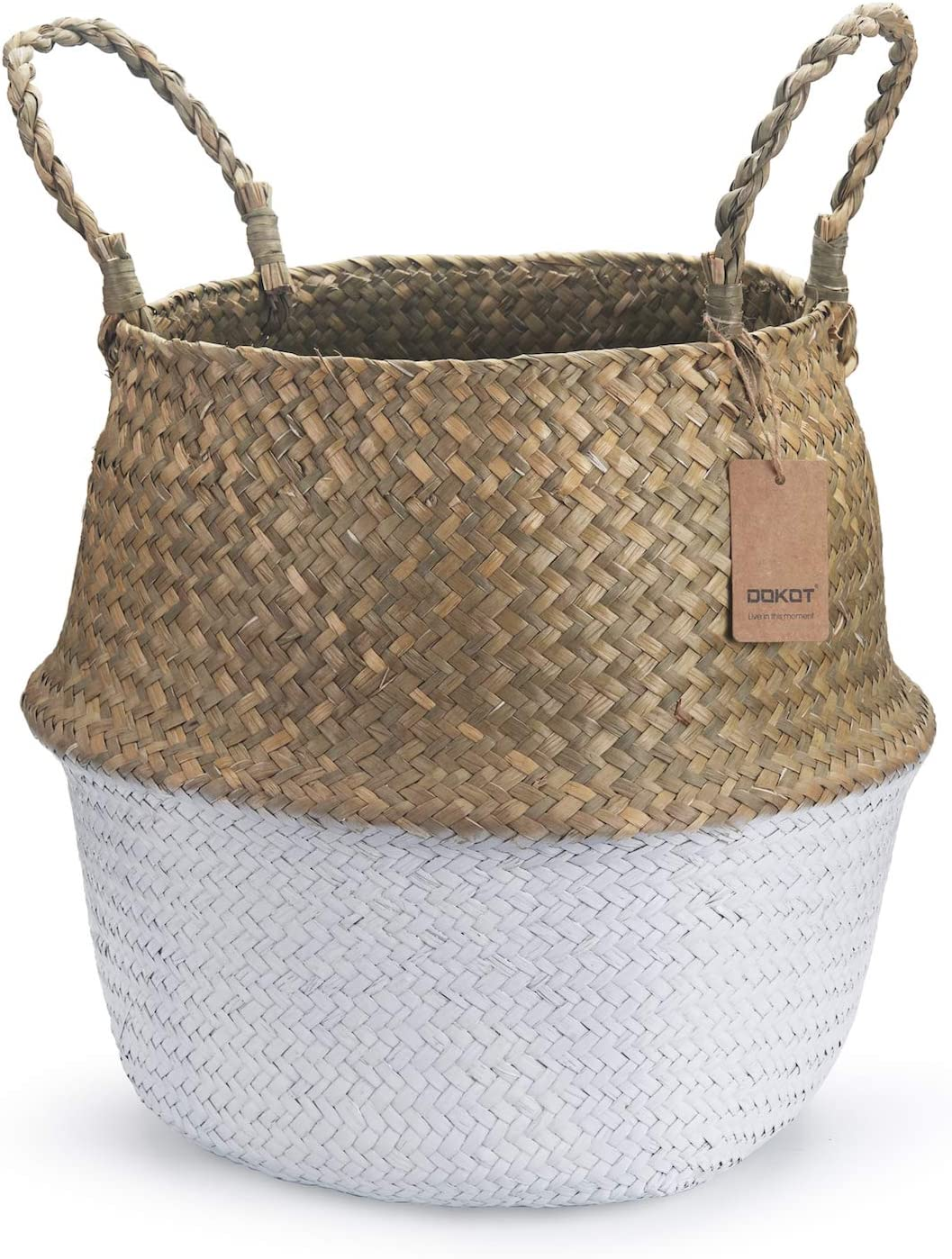 """Seagrass Belly Basket with Handles Natural Woven Planter Baskets for for Indoor Plants Storage Laundry (White XXL (12"""" D x 14"""" H))"""