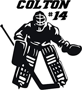 Room Wall Decor - Hockey Goalie with Personalized Name - Vinyl Decal Stickers for Boys and Girls Bedroom, Playroom, Locker Room, Man Cave - Custom Sizes and Colors Match The Theme of Any Living Space