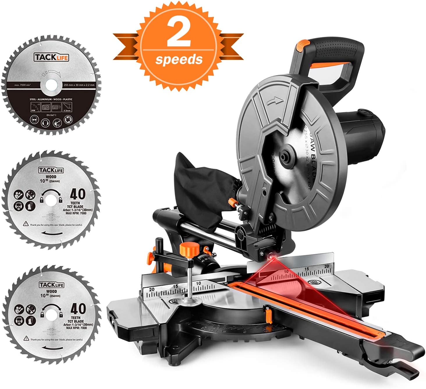 TACKLIFE Sliding Compound Miter Saw, Double Speed 3200/4500rpm, 2000W, 40T&48T Blades, 45° Bevel Cut with Laser Guide, Extensible Table, Dust Bag - EMS01A