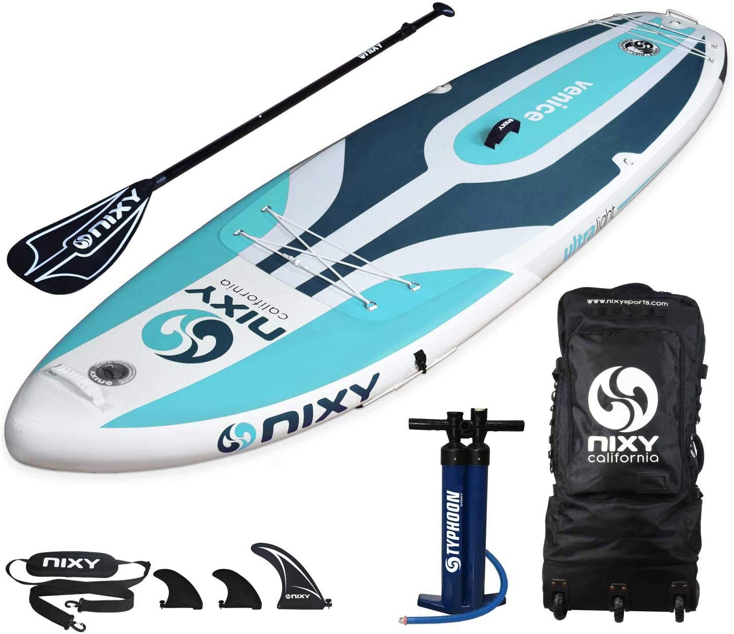 NIXY Venice Inflatable Stand Up Paddle Board. Yoga Fitness Beginner Lightweight Premium SUP built with the Latest Dropstitch Technology. All Accessories included Paddle, Leash, Pump, Shoulder Strap, Carry Bag 10 6 x 34 x 6 Youth and Adult Outdoor Sports
