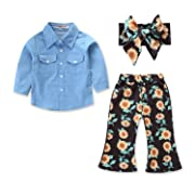 BELS Baby Girl Clothes Long Sleeve Blue Top Shirt + Sunflower Pants with Floral Headband Outfit Set (Blue, 6-12 Months/80)