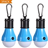 Tent LED Light [3Pack], PEMOTech Camping Light With Mountaineering Buckle Portable Lantern Emergency Tent LED Light Bulb for Home, Fishing, Camping, Hiking,Backpacking & Other Indoor and Outdoor Activities,Battery Powered & Water Resistant Gift