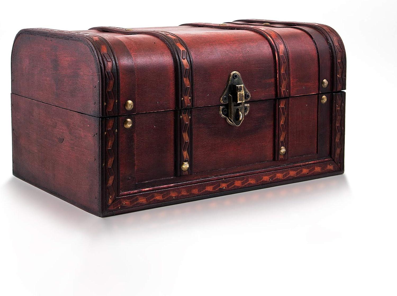 infinimo cofre del tesoro Caribe – Caja con candado y llave – Cofre de madera, cofre del tesoro 28 x 19 x 15 cm grande – Ideal como caja de regalo para, por ejemplo, bodas y cumpleaños