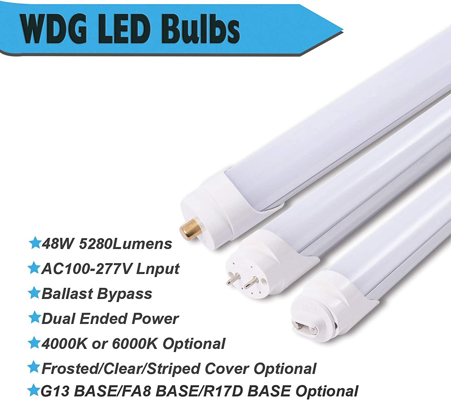 12 Pack WDG T8 T10 T12 Led Bulbs,8FT 48W Beer Cooler Lamp with FA8 Single Pin Base,Frosty Cover,ETL Listed 6500K Dual-end Powered 8 Tube Light,Ballast Bypass Replacements for Fluorescent Bulb