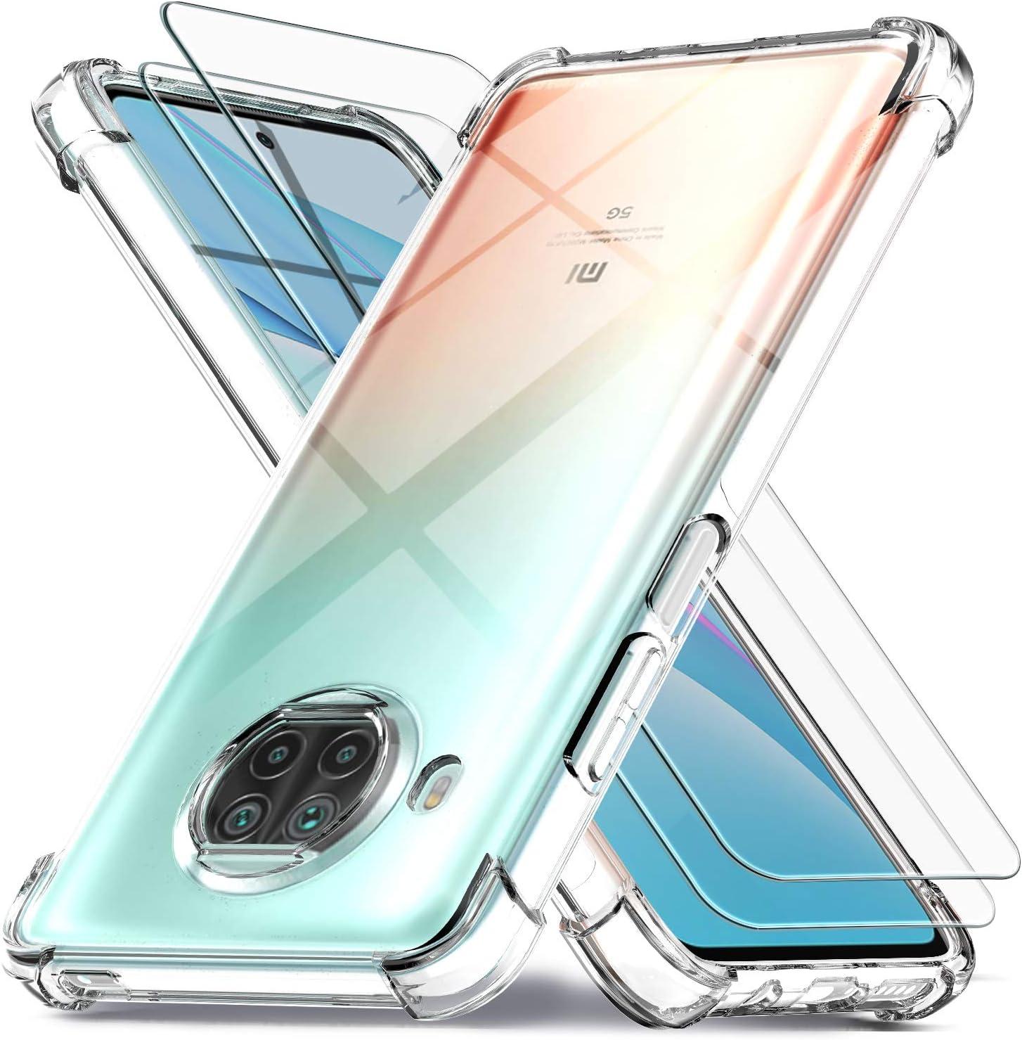 Ferilinso Funda para Xiaomi Mi 10T Lite 5G + 2 Piezas Cristal Templado Protector de Pantalla [Transparente TPU Carcasa] [10X Anti-Amarilleo] [Anti-Choque] [Anti-arañazos] [9H Dureza]