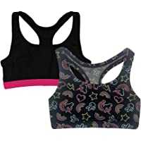 Popular Girl's Print and Solid Racerback Sports Bra - 2 Pack
