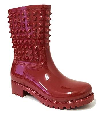 59d590693eda 7-XFK Women s Rain Boots Rubber Short Studded Garden Waterproof Wellies  Ankle Snow Shoes (