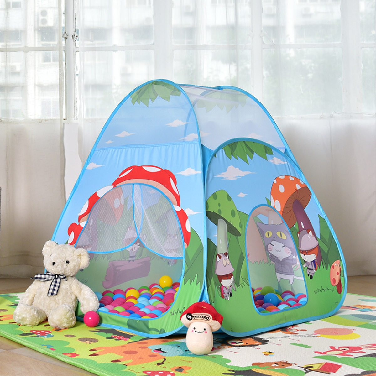 Tienda De Campaña De Hongos Tienda De Campaña De Hongos Bosque De Dibujos Animados Juego De Interior Y Exterior Casa De Juguete De Bebé