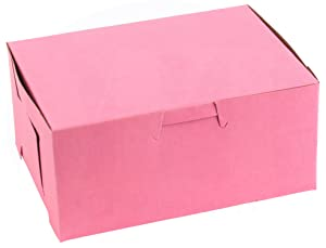 """Pretty Pink Lock Corner Clay Coated Kraft Paperboard Bakery Box No-Window Size 6"""" x 4 1/2"""" x 2 3/4"""" by MT Products (15 Pieces)"""