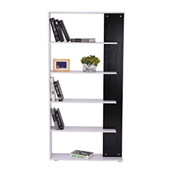 HOMCOM CLEARANCE Storage Bookcase 5 Shelves Wood Bookshelf Cupboard Home Office Furniture