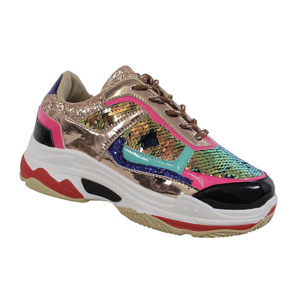 Yoki Tubuler-04 Women's Chunky Trainer Sequin Lace Up Fashion Sneaker Gold (8)
