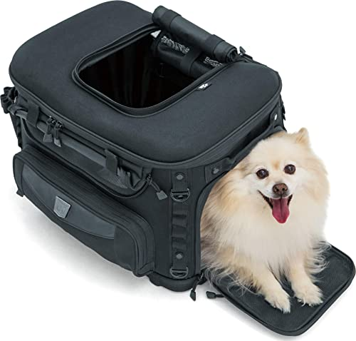 Kuryakyn 5288 Grand Pet Palace Portable Weather Resistant Motorcycle Dog Cat Carrier Crate for Luggage Rack or Passenger Seat with Sissy Bar Straps, Black