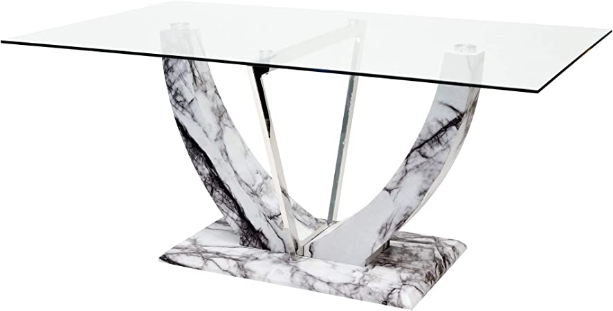 Febland Jericho Rectangular Glass Top Dining Table With Marble Effect Base Grey One Size Amazon Co Uk Kitchen Home