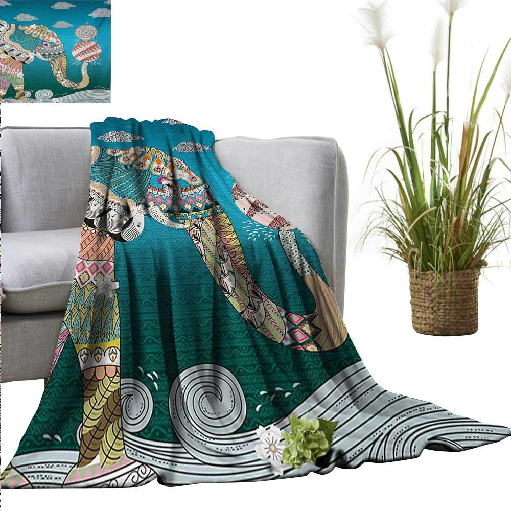 """Sand Free Beach Blanket Elephant,Spirit Animal with Ornate Patterns Flowers on Body and Circles with Doodle Clouds Image,Multi Soft Summer Cooling Lightweight Bed Blanket 50""""x70"""""""