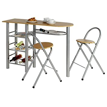 8acbaac2627a32 IDIMEX Ensemble Style avec Table Haute de Bar Mange-Debout comptoir avec 3  étagères et