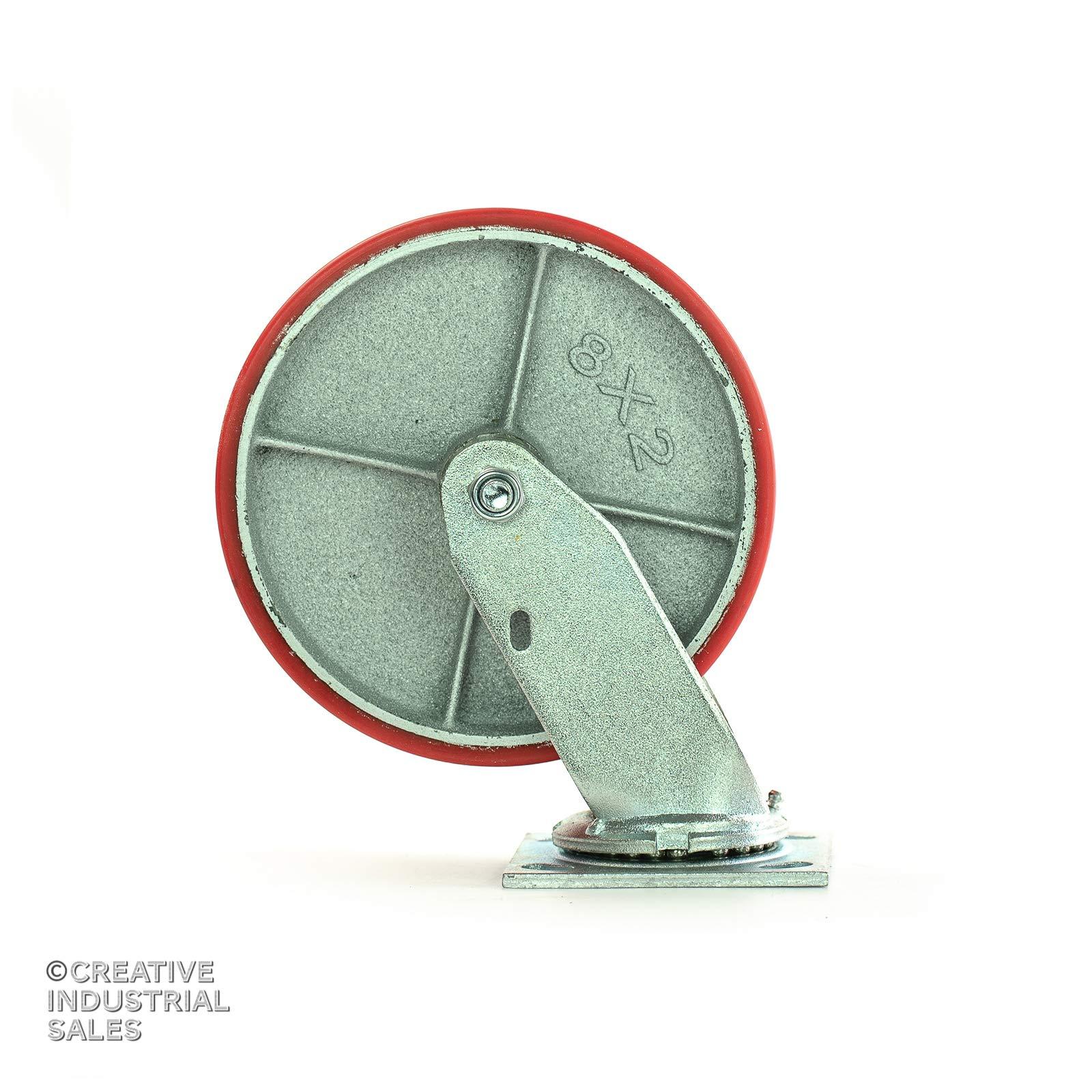 8'' X 2'' Swivel Casters Heavy Duty Polyurethane Wheel on Steel Hub (2) and Rigid (2) 1400lb Each by Creative Industrial Sales (Image #2)