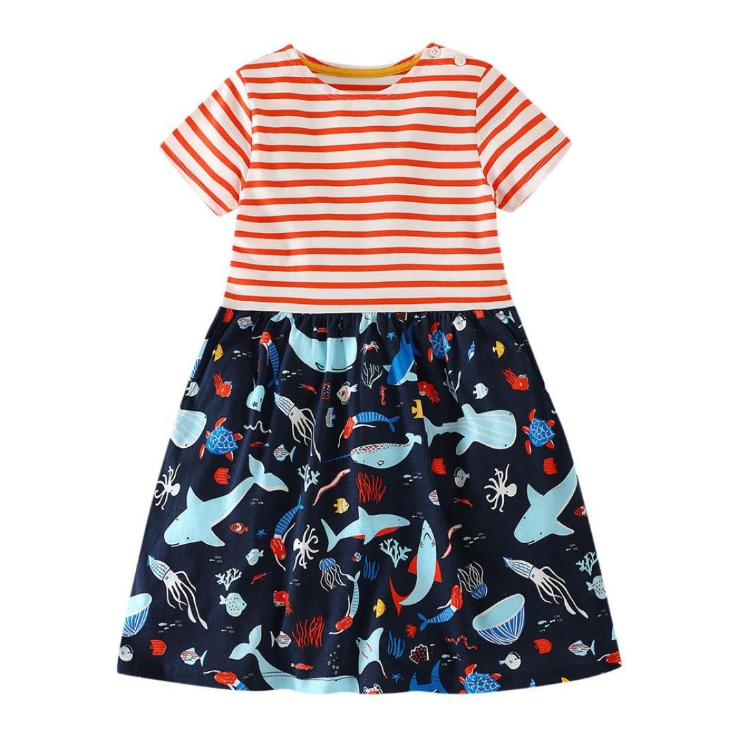 Veepola Kid Baby Girls Cartoon Ocean Animals Print Striped Dress Casual Dresses (5T)