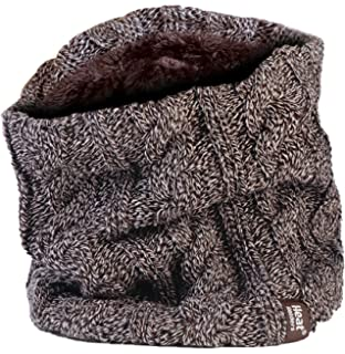 Womens Heat Holders Thermal 3.4 tog Fleece Cable knit Scarf Neck Warmer Black