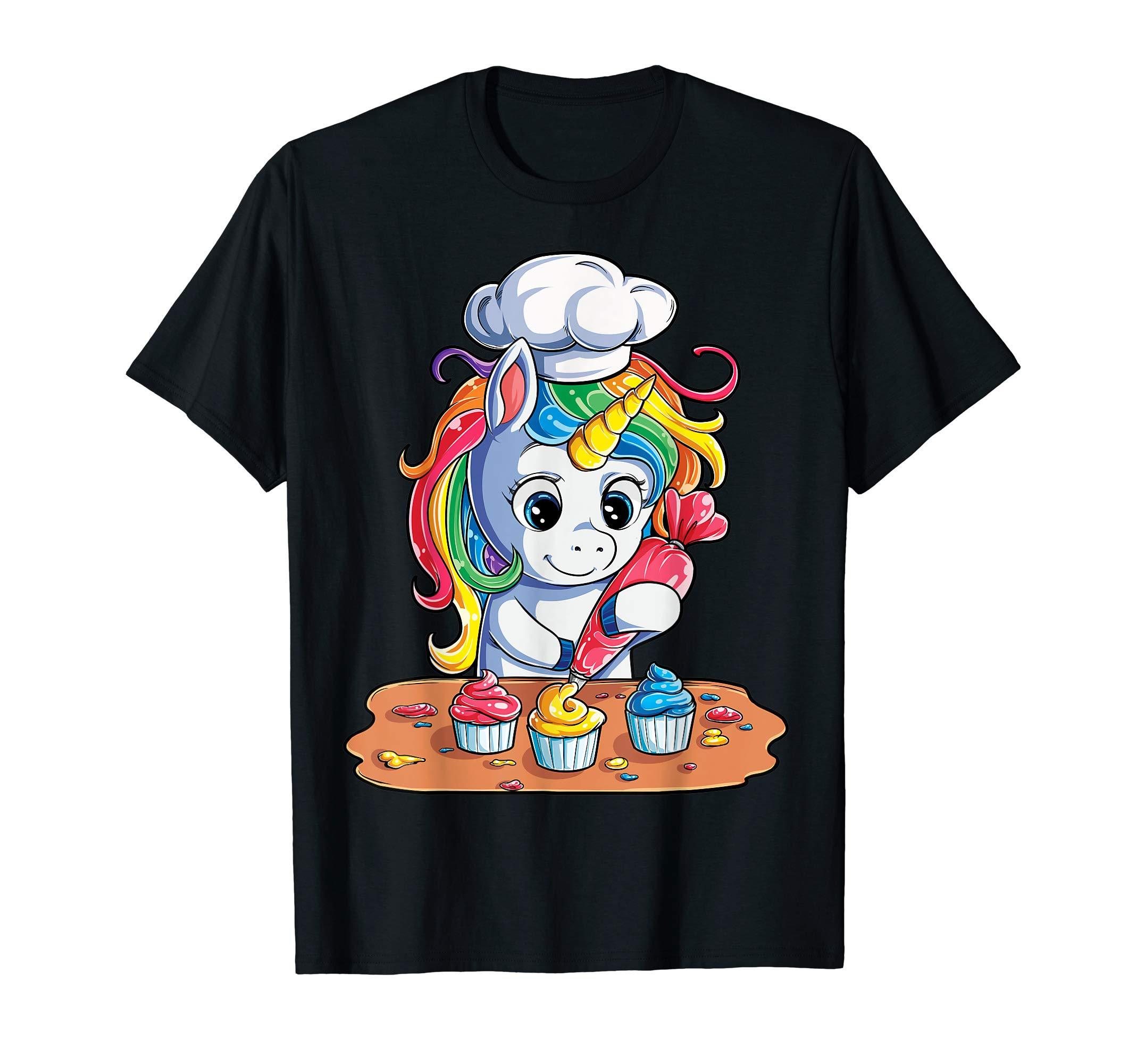 Unicorn Cupcake T shirt Girls Rainbow Unicorns Baking Cake by Lique Unicorn