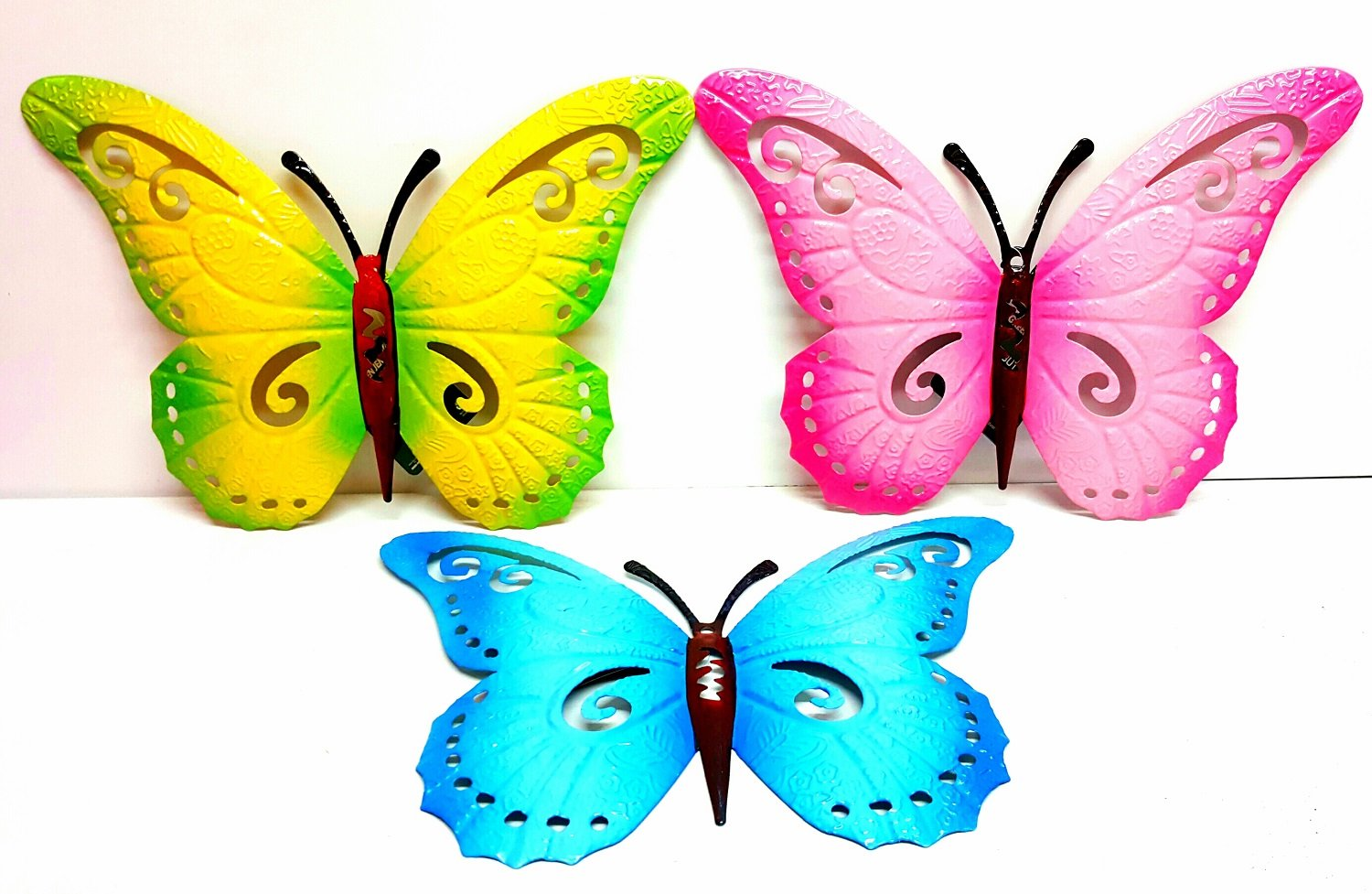 3x BUTTERFLIES LARGE PAINT COLOURED METAL BUTTERFLY WALL ART OUTDOOR GARDEN grenland