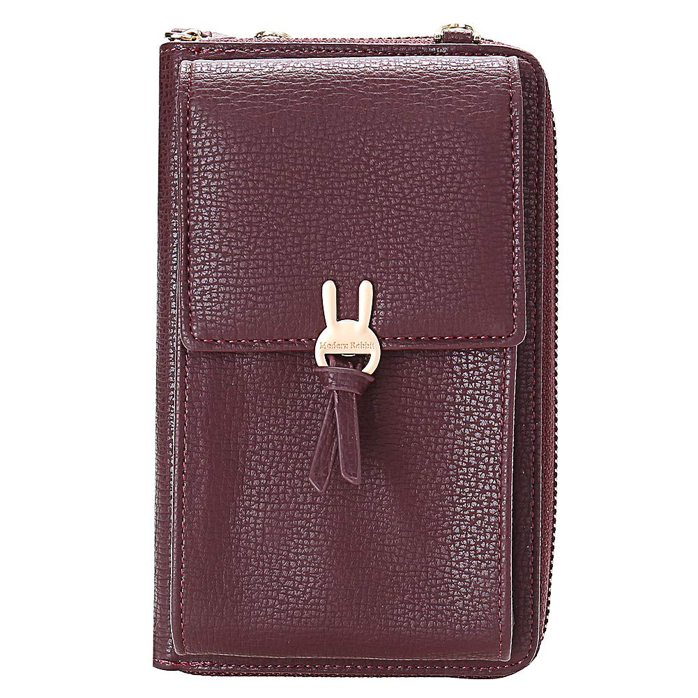 Kukoo Small Crossbody Bag Cell Phone Purse Wallet with Credit Card Slots for Women (F-Wine red) by Kukoo (Image #1)