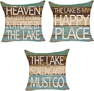 SOPARLLY Set of 3 Summer Words The Lake Is My Happy Place Heaven Is A Little Closer In A Home By The Lake Pillows Cotton Linen Decorative Home Office Throw Pillow Case Couch Cushion Cover 18X18 Inches