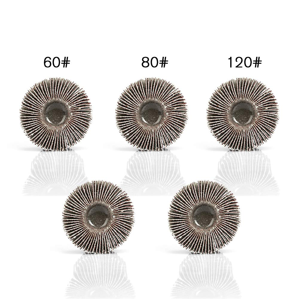 Deburring Grinding Polishing Flat(60#) 40x25x6mm Rotary Flap Wheel Sander,5PCS Sanding Flap Wheels with 60 Grits Aluminum Oxide for Removing Rust