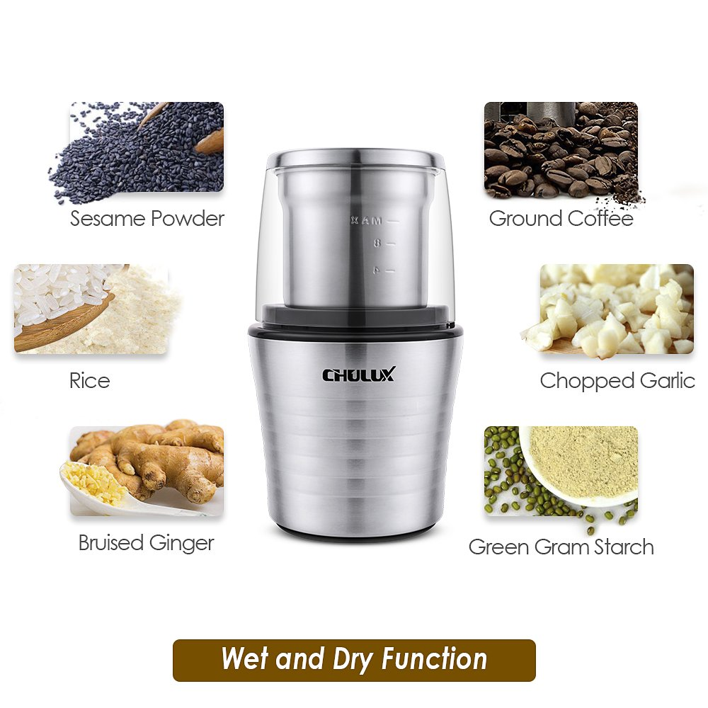 CHULUX Electric Spices and Coffee Grinder with 2.5 Ounce Two Detachable Cups for Wet/Dry Food,Powerful Stainless Steel Blades and Cleaning Brush by CHULUX (Image #5)