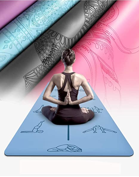 Amazon.com : YXGYJD Pilates Mat, Yoga Mat Rubber Laser Engraved Yoga Mat, Non-Slip Stripes, Non-Slip, Wear-Resistant, Specifications: 183 X 68 cm Thickness: ...