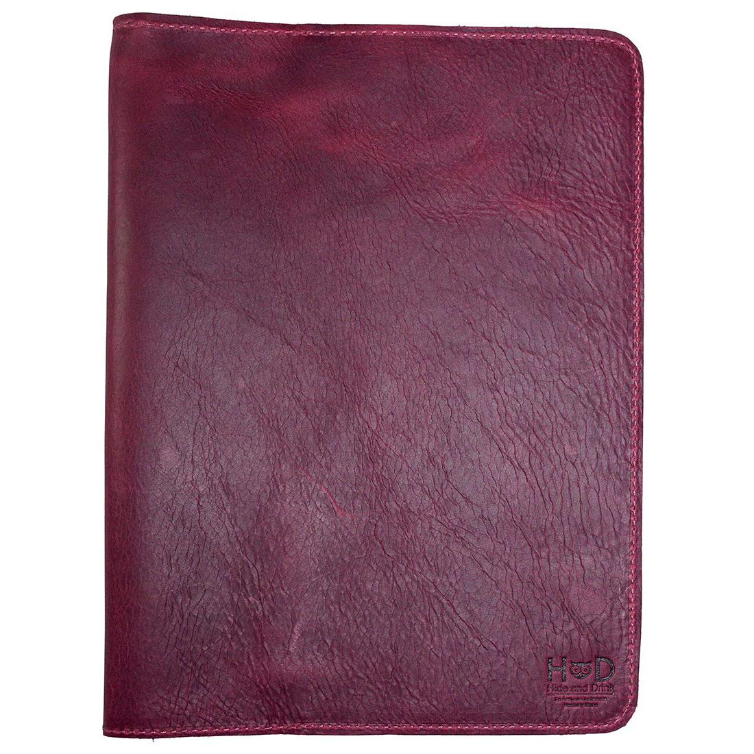 Hide & Drink, Rustic Leather Refillable Journal Cover for Moleskine Cahier XL (7.5 x 9.75 in.) Handmade Includes 101 Year Warranty :: Sangria