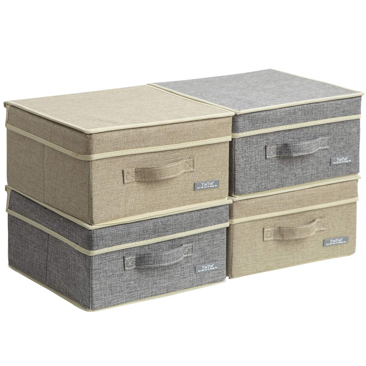YueYue 4 Pack Small Fabric Storage Box with Lids, Foldable Linen Storage Box with Lids 4 Pieces Gray&Linen Set 12.4in/12in/6.7in by YueYue