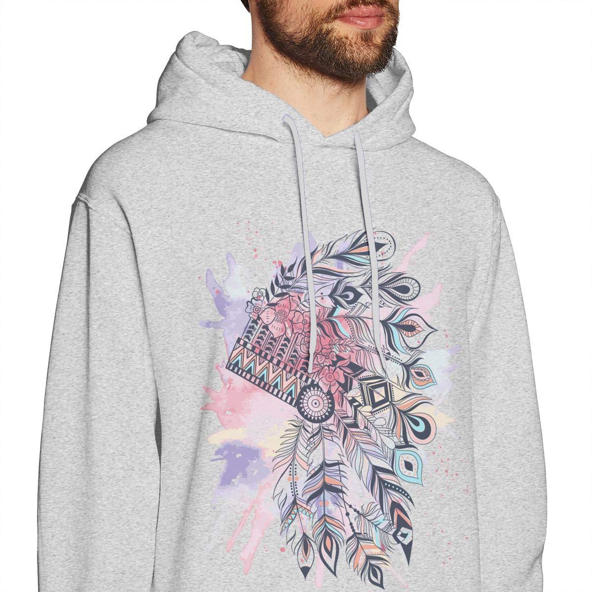 Mans Fashion Pure Color Hoodie Long-Sleeve Drawstring Tribal Headdress Feather Hooded Sweatshirt