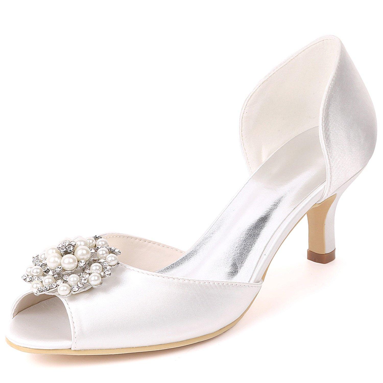 Layearn Frauen Hochzeit Schuhe Low Heel Satin Größe Party Nach Maß Side air Strass Kätzchen Heels  | Lebendige Form