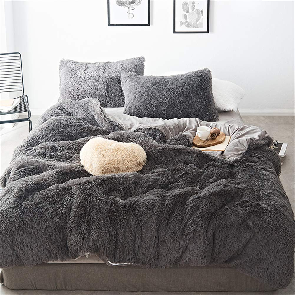 MooWoo 4 PCS Luxury Shaggy Plush Bedding Sets, 1 Fluffy Faux Fur Duvet Cover + 1 Velvet Bed Flat Sheet + 2 Furry Pillow Shams, Zipper Closure, 4 PCS (Dusty Grey, Queen)