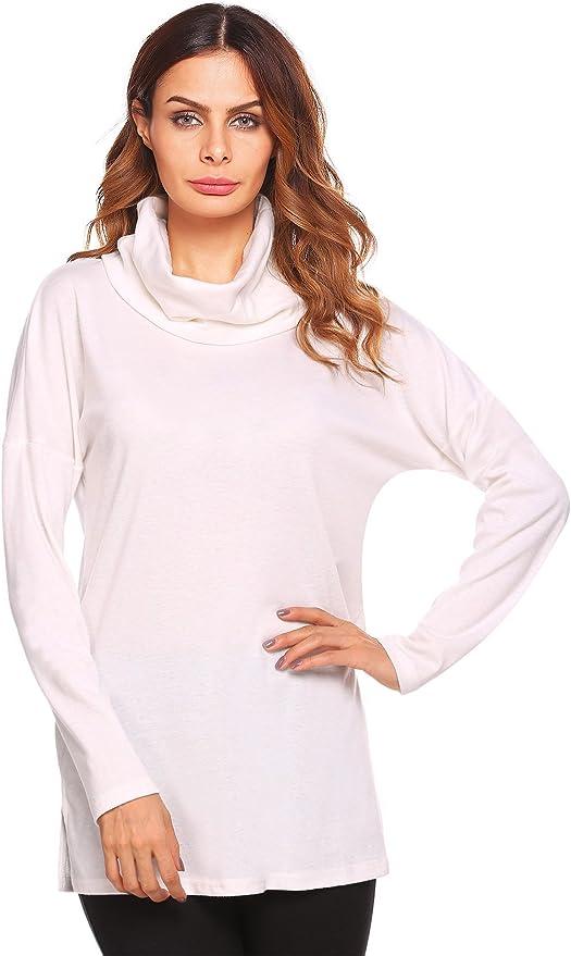 Zeagoo Women's Cowl Neck Long Sleeves Casual Top