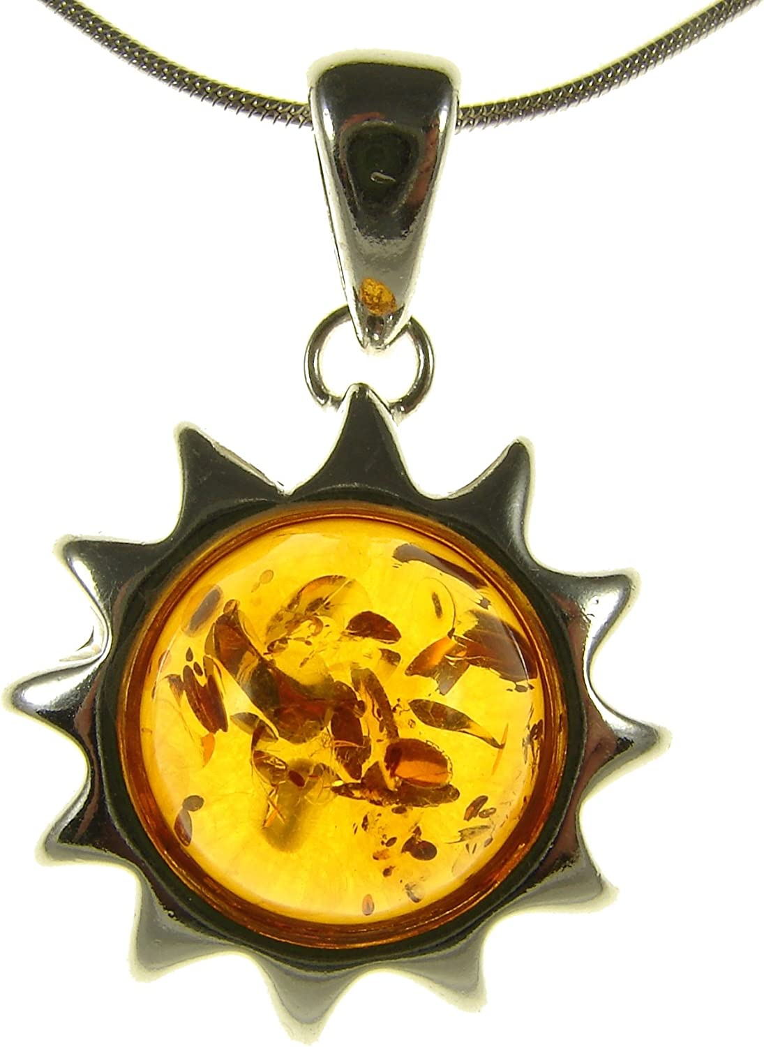 GIFT BOXED BALTIC AMBER STERLING SILVER 925 SUN PENDANT NECKLACE CHAIN JEWELLERY