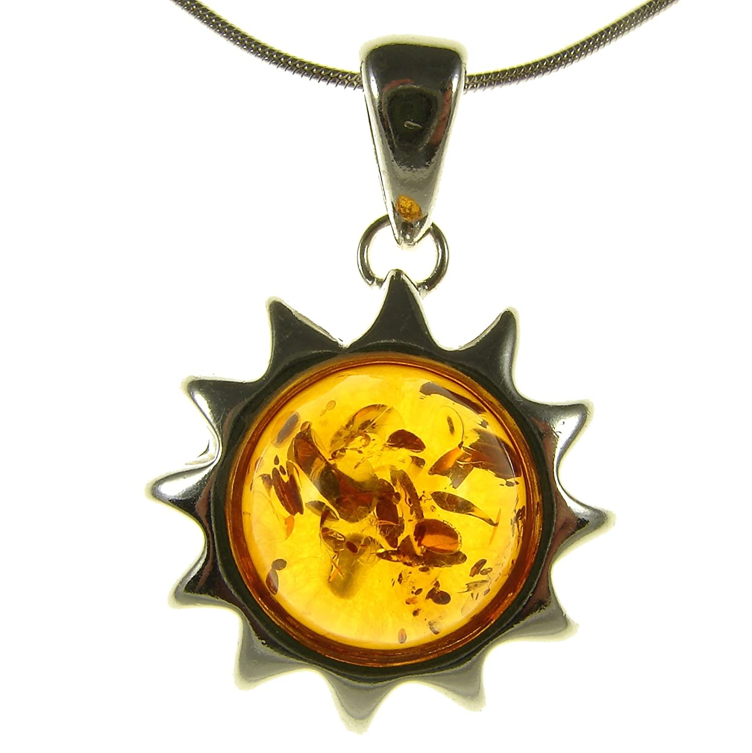 14 16 18 20 22 24 26 28 30 32 34 1mm ITALIAN SNAKE CHAIN BALTIC AMBER AND STERLING SILVER 925 MOUSE PENDANT NECKLACE
