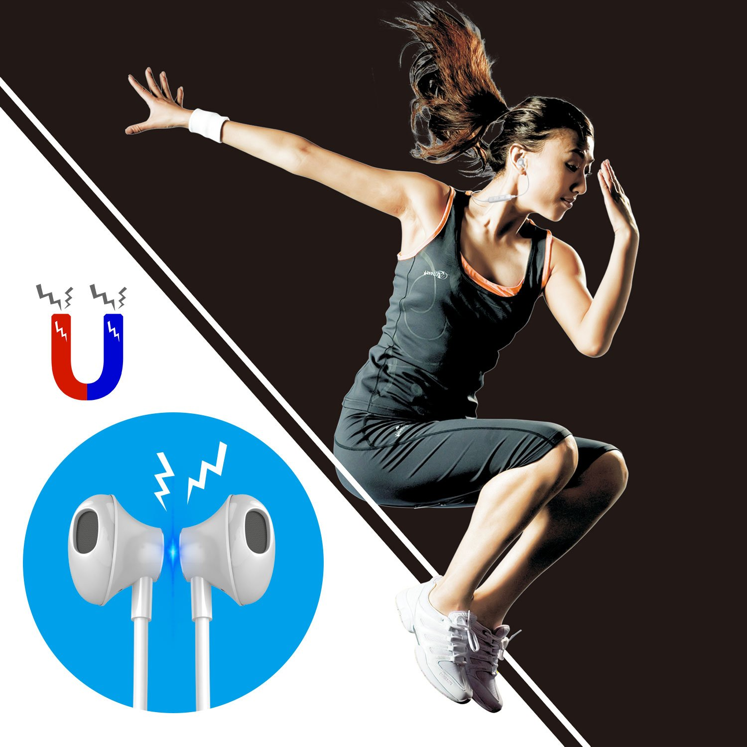 Bluetooth Headphones Wireless, Earphones Stereo Magnetic Earbuds, Sweatproof Mobile Headsets, Secure Fit, Noise Cancelling Mic, Clear Voice Capture & 5 Hrs Playtime for Gaming, Sports (White W2)