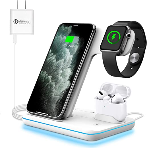 WAITIEE Wireless Charger 3 in 1, 15W Fast Charging Station for Apple iWatch SE/6/5/4/3/2/1,AirPods Pro, Compatible with iPhone 12/12 Pro Max/11 Series/XS Max/XR/XS/X/8/8 Plus/Samsung Galaxy (White)