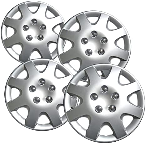 15 inch Hubcaps Best for 1998-2002 Honda Accord - (Set of 4) Wheel Covers 15in Hub Caps Silver Rim Cover - Car Accessories for 15 inch Wheels - Snap On ...