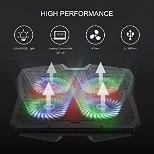 GARUNK Laptop Cooler Cooling Pad for 13.3-17 inch Laptop / PS4 with 4 Quite 125mm Fans at 1500 PRM and Colorful LED, Dual USB 2.0 Ports and Adjustable Mount Stand, Black (Color: Black, Tamaño: 16.9*13.0*1.53 inch)