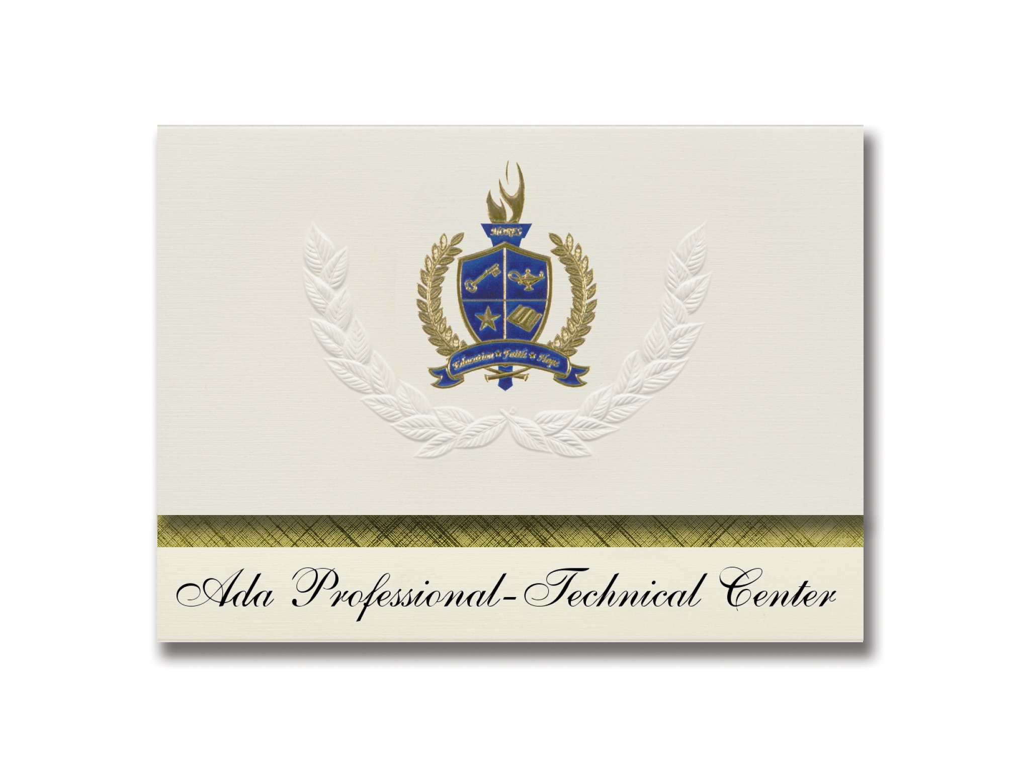 Signature Announcements Ada Elite-Technical Center (Meridian, ID) Graduation Announcements, Presidential style, Elite package of 25 with Gold & Blue Metallic Foil seal