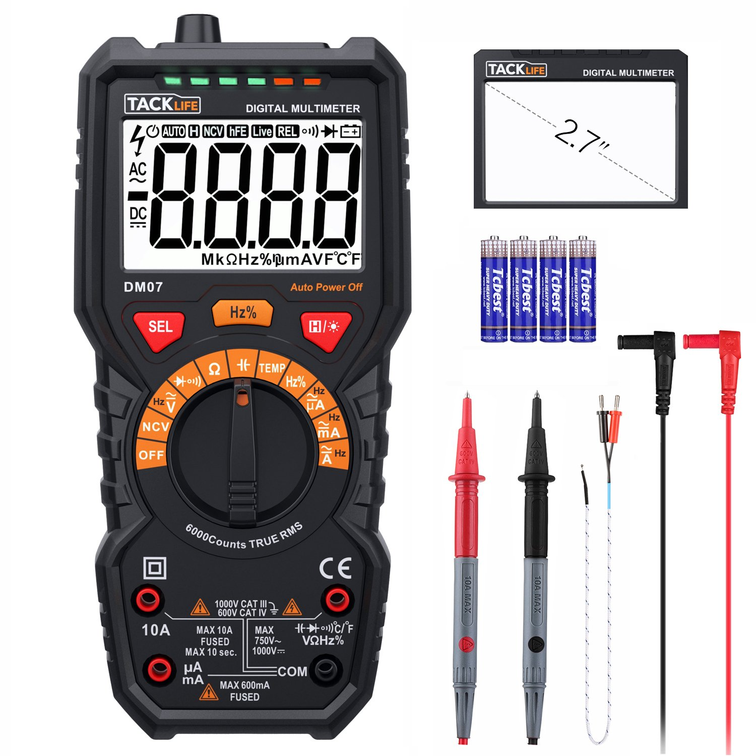 Multimeter, Tacklife DM07 6000 Counts Auto-Ranging Electrical Tester, AC/DC Voltage Current Detector, NCV, Resistance, Capacitance, Diode Electronic Tester, Duty Cycle digital Meter, 2.7 Inch LCD
