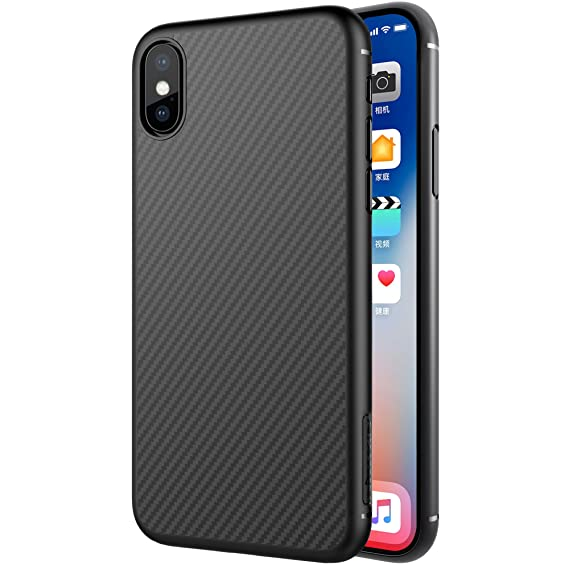 outlet store 973c3 3a866 iPhone Xs/X Case, Nillkin Synthetic Fiber Super Slim Case Back Cover  [Support Wireless Charge] with Excellent Hand-Feeling for iPhone Xs/X