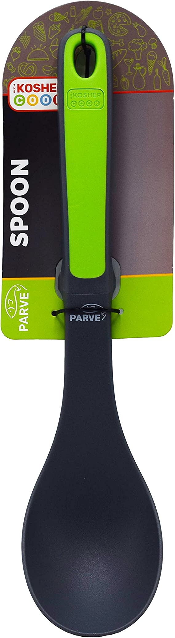 Parve Green Basting Spoon Heavy Duty Silicone Mixing and Serving Utensil with Ergonomic Handle and Comfortable Grip For Cooking and Baking Color Coded Kitchen Tools by The Kosher Cook