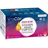 VitaCup Genius Blend 45ct. Top Rated Coffee Cups with MCT, Turmeric, Cinnamon Infused With Vitamins B12, B9, B6, B5, B1, and D3, Pods Compatible with K-Cup Brewers including Keurig 2.0 Keto Friendly