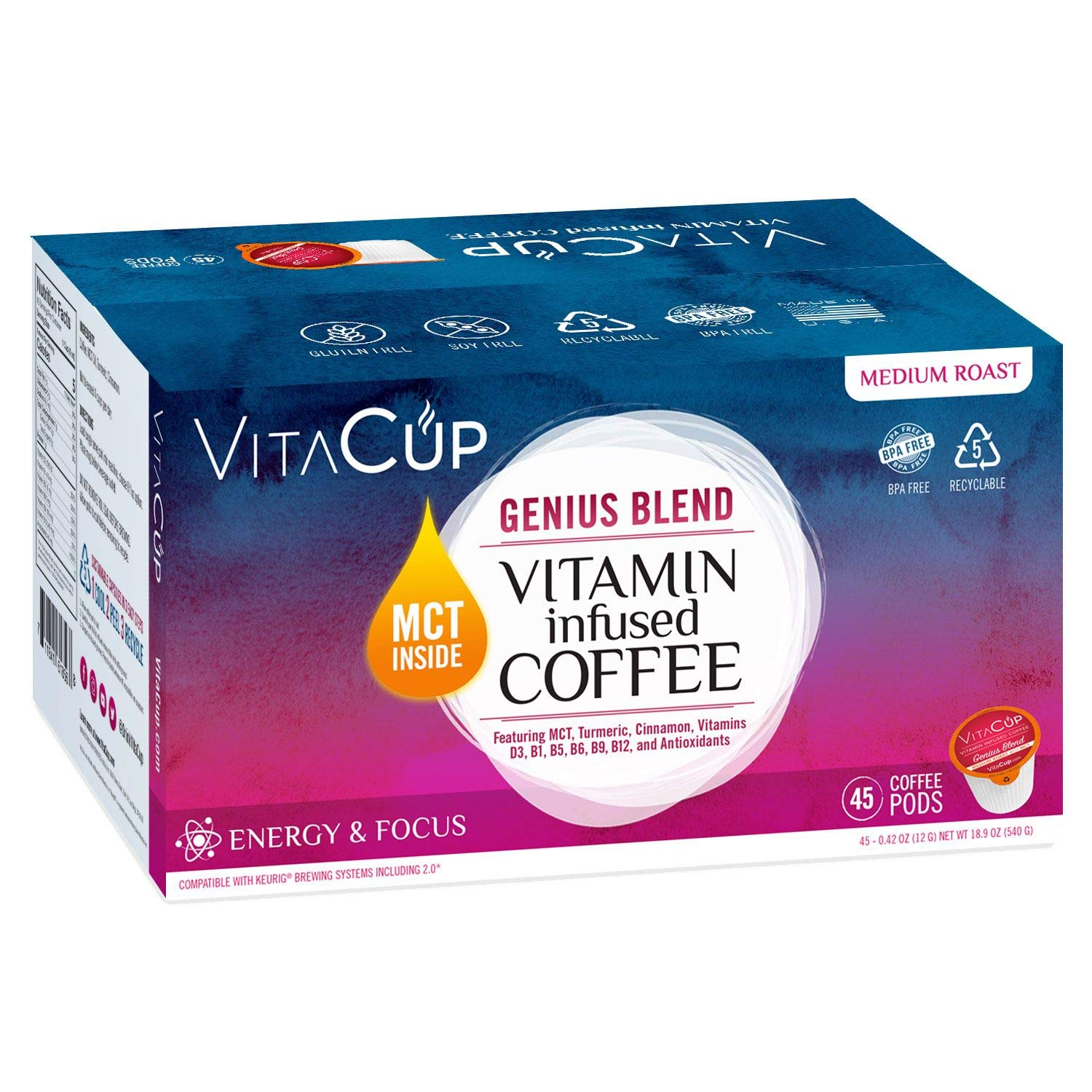 VitaCup Genius Coffee Pods 45ct with MCT, Turmeric, Vitamins, Cinnamon, Keto|Paleo|Whole30 Friendly, B12, B9, B6, B5, B1, D3, Compatible with K-Cup Brewers Including Keurig 2.0, Top Rated Cups